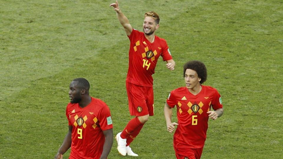 Belgium's Dries Mertens, second right, celebrates after scoring against Panama in the 47th minute. (AP)