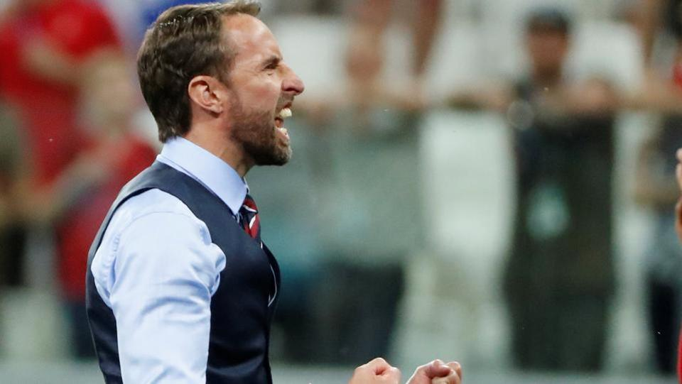 England manager Gareth Southgate celebrates after the match.  (REUTERS)