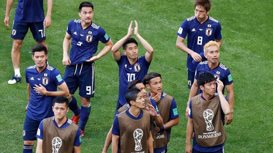Japan became the first team from Asia to beat a team from CONMEBOL region after they beat Colombia 2-1.  (REUTERS)