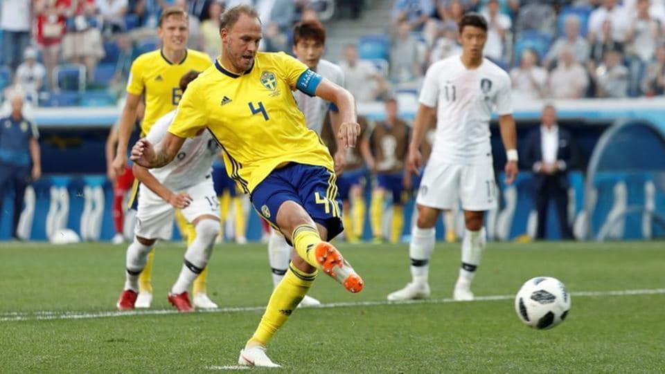 In a Group F match, Sweden defeated South Korea 1-0 after Andreas Granqvist scored from a penalty. (REUTERS)