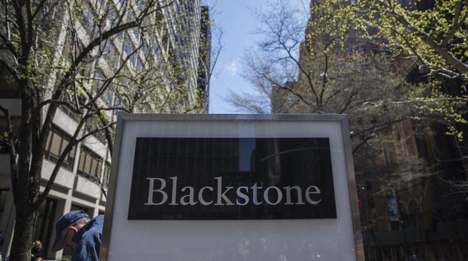 Signage is displayed outside Blackstone Group LP headquarters in New York, US.