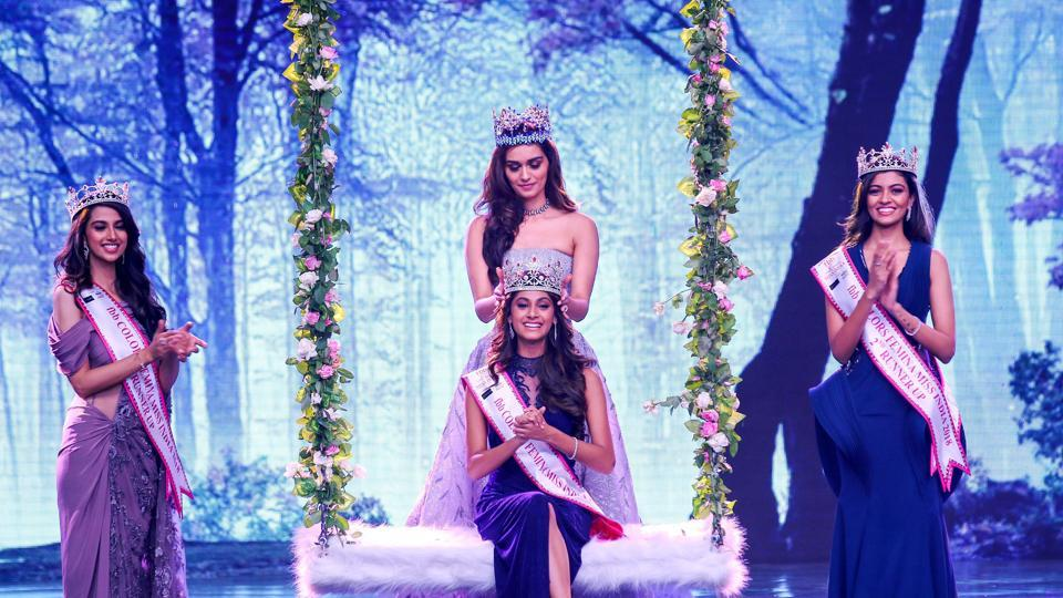 Anukreethy Vas, a 19-year-old college student from Tamil Nadu, beat 29 other contestants from across India to win Femina Miss India 2018 on Tuesday after impressing judges, including former VJ Malaika Arora and cricketer Irfan Pathan. She was crowned by Miss World 2017 Manushi Chhillar. Also seen are Haryana's Meenakshi Chaudhary (1st Runner up) and Andhra Pradesh's Shreya Rao (2nd Runner up). (PTI)