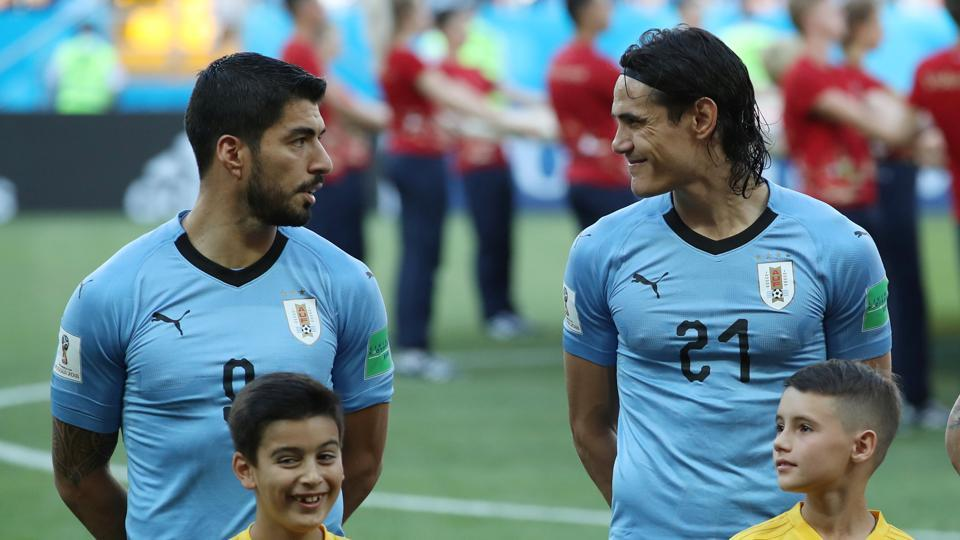 Luis Suarez was presented with his 100th cap for Uruguay in the game against Saudi Arabia in the FIFAWorld Cup 2018.