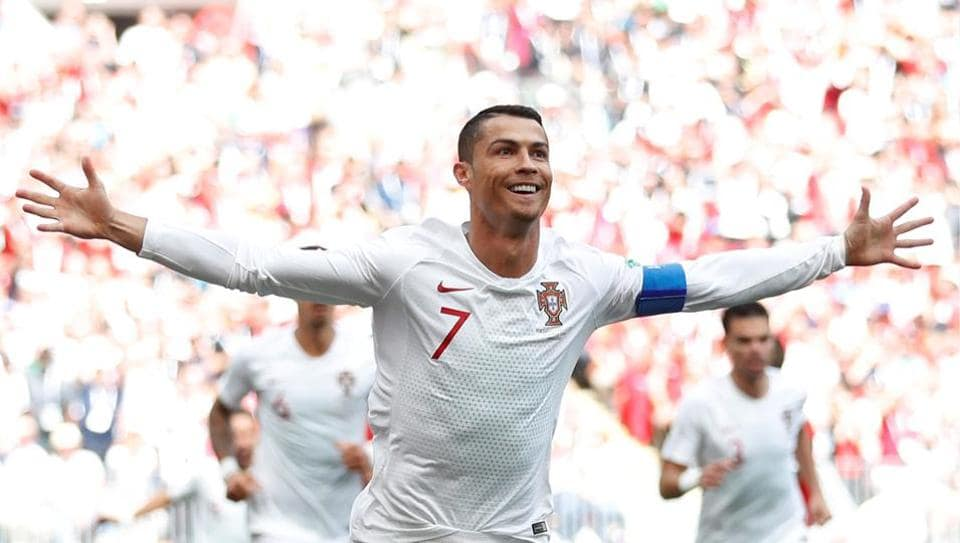 Cristiano Ronaldo celebrates after scoring a goal during Portugal's FIFA World Cup match against Morocco in Moscow on Wednesday.