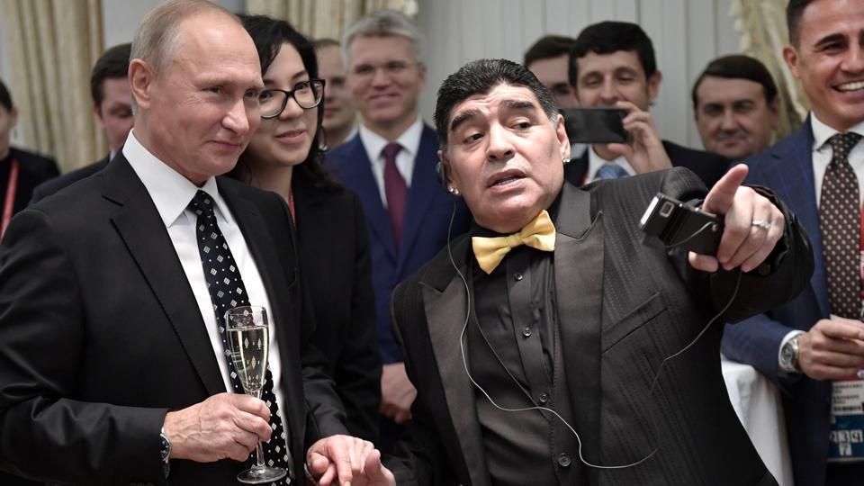 President of Russia Vladimir Putin, Diego Maradona and Fabio Cannavaro seen ahead of the 2018 FIFA World Cup Draw .