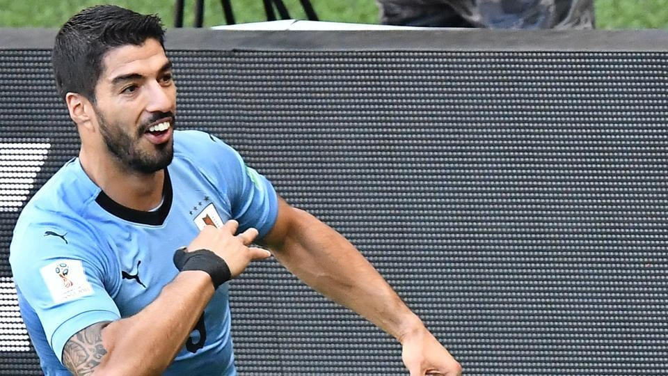 Suarez was playing in his 100th international game for Uruguay and his goal helped Uruguay enter the round of 16 along with hosts Russia.  (AFP)