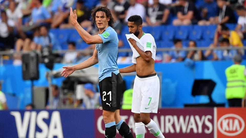 Edinson Cavani failed to match up to Suarez's prowess as he missed several chances.  (AFP)