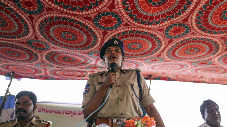 "Rema Rajeshwari, addresses villagers on fake news awareness. She ordered training sessions for more than 500 officers. ""We had to educate our officers first, before sending them out into the community to educate the people."" (Dhiraj Singh / Bloomberg)"