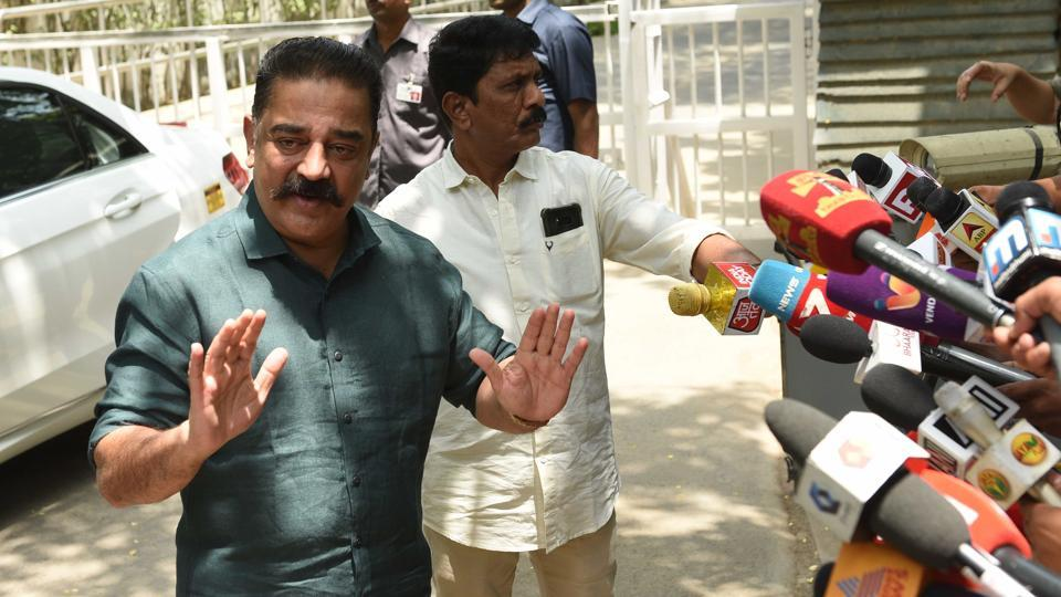 Makkal Needhi Maiam president Kamal Haasan during his interaction with media after meeting Congress leader Sonia Gandhi at her residence at 10 Janpath, in New Delhi.