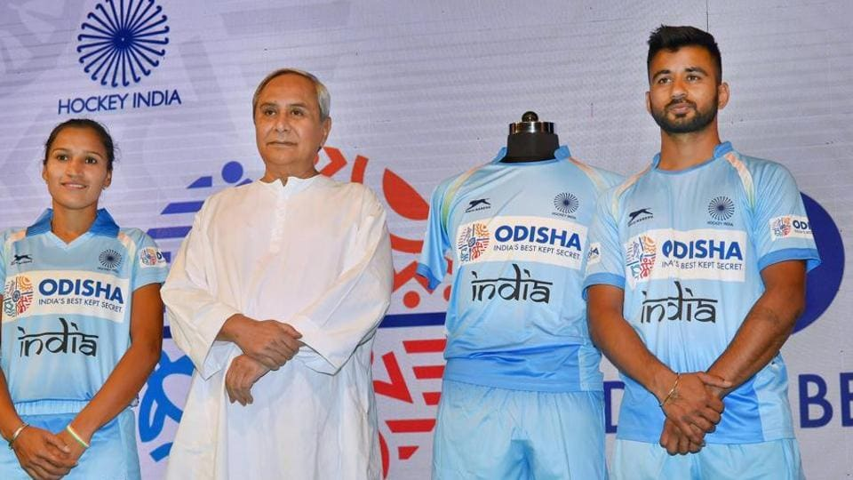 Odisha chief minister Naveen Patnaik with the skippers of Indian men's and women's hockey teams Rani Rampal and Manpreet Singh at a function in New Delhi on February 15. Odisha will sponsor the national men's and women's hockey teams for the next five years.