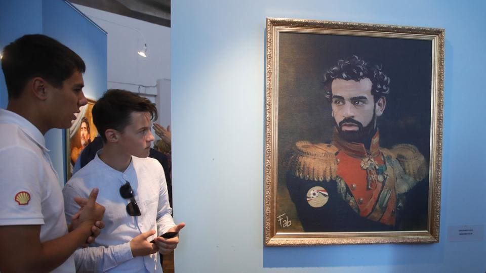 Mohamed Salah depicted in a  portrait  made by the Italian artist Fabrizio Birimbelli. (AP)
