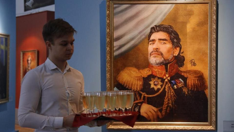 The exhibition also contained portraits of football legends like Diego Maradona (in picture). (AP)