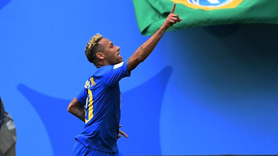 Brazil celebrates his goal against Costa Rica. (HT Photo/Utpaal Sorkkar)