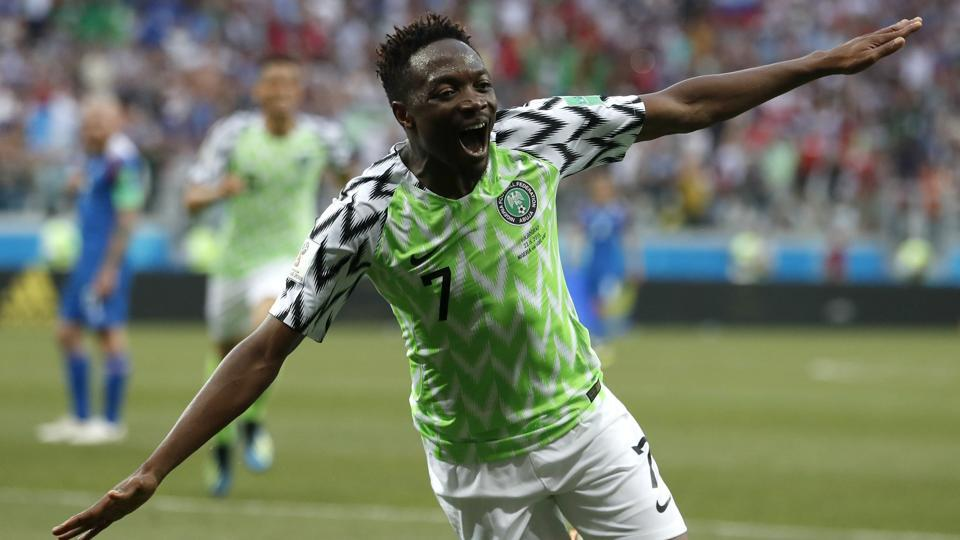 Volgograd: Nigeria's Ahmed Musa celebrates after scoring his team's second goal during the group D match between Nigeria and Iceland at the 2018 soccer World Cup in the Volgograd Arena. (AP)