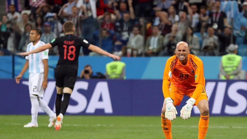Willy Caballero made a horrible mistake as he failed to clear the ball and Croatia's Ante Rebic scored the first goal in the 53rd minute. (REUTERS)