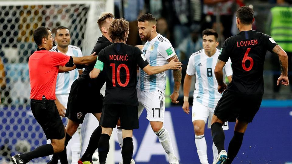 Tempers started to rise with Argentina players arguing with the Croatian players as the game slipped away from them. (REUTERS)
