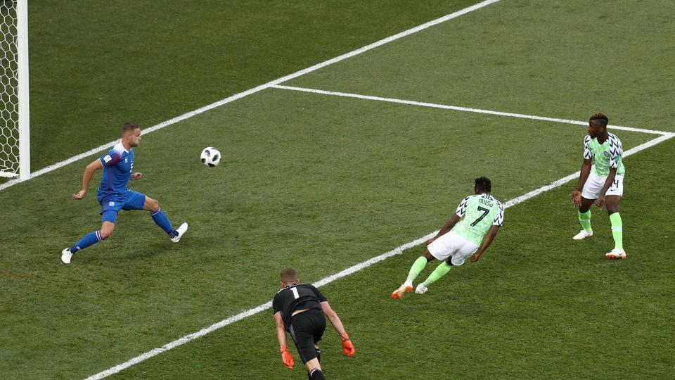 Nigeria's Ahmed Musa scores their second goal. (REUTERS)