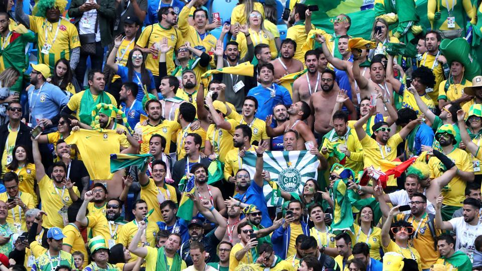 Brazil fans celebrate after the win against Costa Rica. (REUTERS)