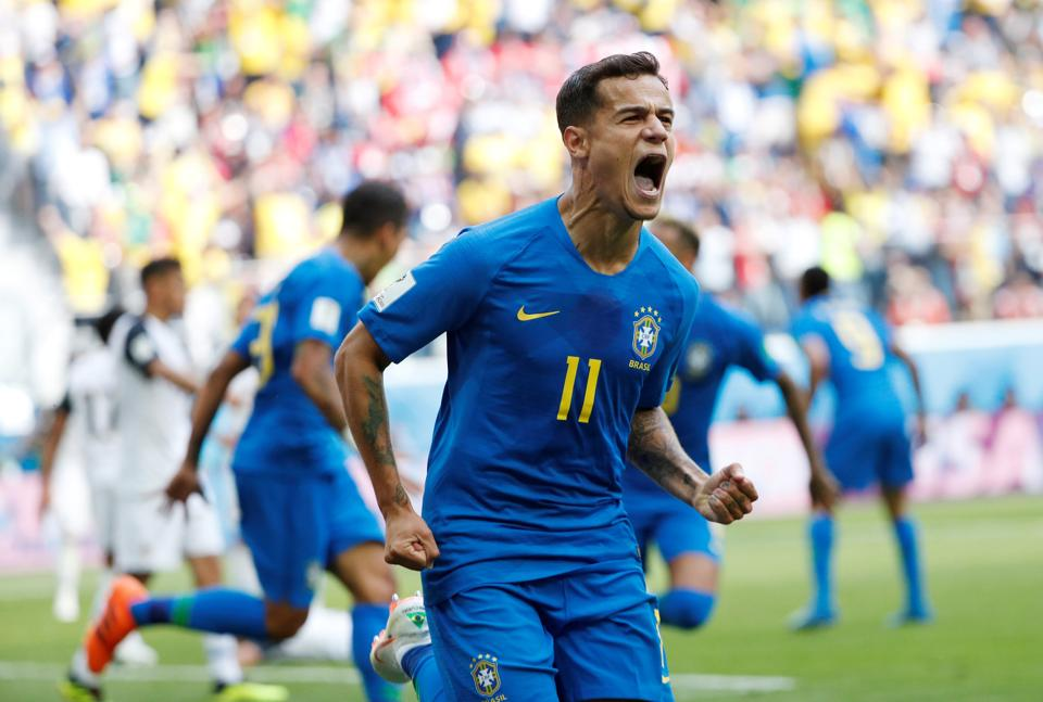 Brazil's Philippe Coutinho celebrates scoring their first goal. (REUTERS)