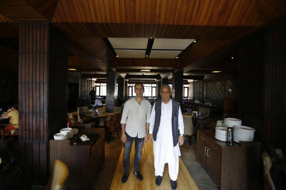 The peaceful, timeless ambience of the three-storey hotel belies the storms it has braved. 'There was a time in the 1990s when we had to travel with the Army-protected journalists to pick up groceries,' says Ghulam Hassan, 72, a second generation owner. His son Hayat Bhat (left) is now managing director.
