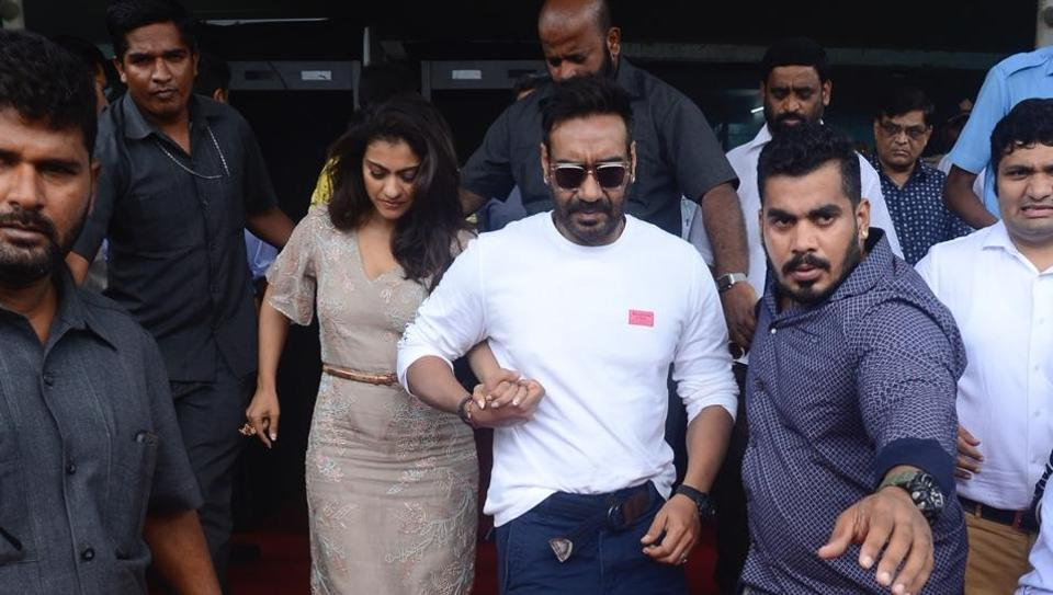 AjayDevgn escorts wife Kajol as they enter the venue where an event on ban on plastic use was taking place in Mumbai.