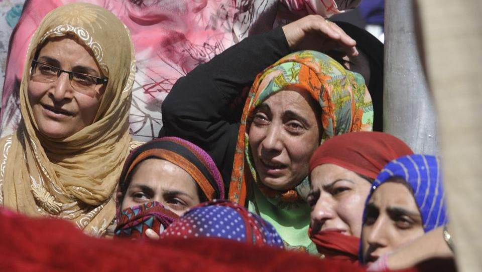 Women mourn the death of Kaiser Amin Bhat during his funeral procession at Fateh Kadal, Srinagar, Jammu and Kashmir, June 2, 2018. The tragedy of Kashmir has been so great and on so many fronts, the latest being the political chaos. But one which is rarely spoken of is the impact of the conflict on women.