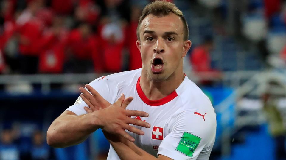 Switzerland's Xherdan Shaqiri celebrates scoring their second goal against Serbia in the FIFAWorld Cup 2018.