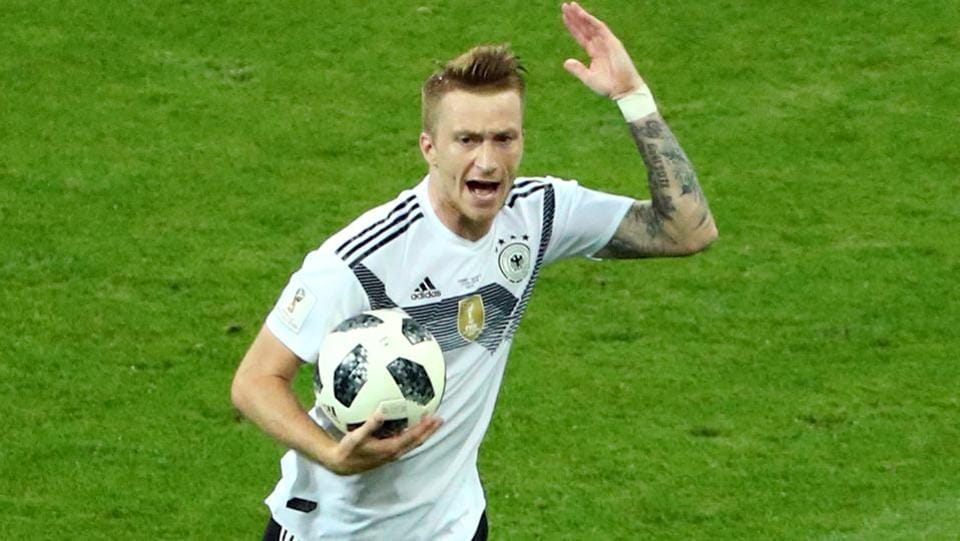Germany's Marco Reus celebrates scoring their first goal and the game's equaliser.  (REUTERS)
