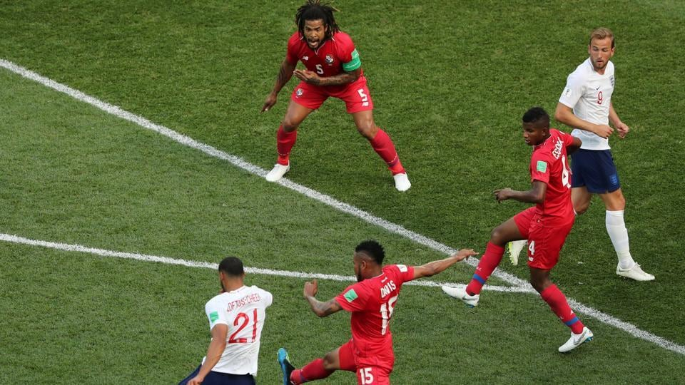 England's Ruben Loftus-Cheek shoots at goal before it is deflected in off England's Harry Kane to score their sixth goal and to complete his hat-trick. (REUTERS)