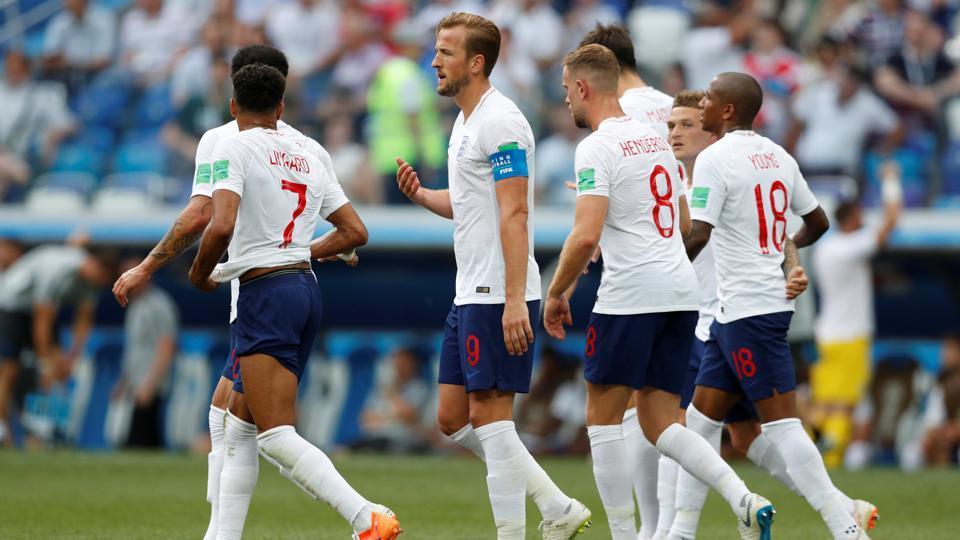 England's Harry Kane celebrates scoring their fifth goal vs Panama with teammates. England won 6-1.
