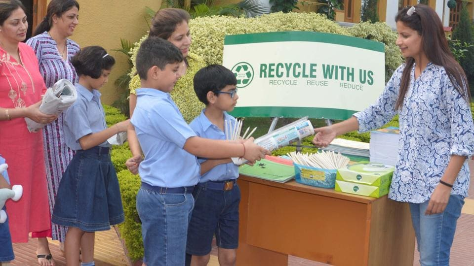 Save environment,recycle paper,Tricity schools