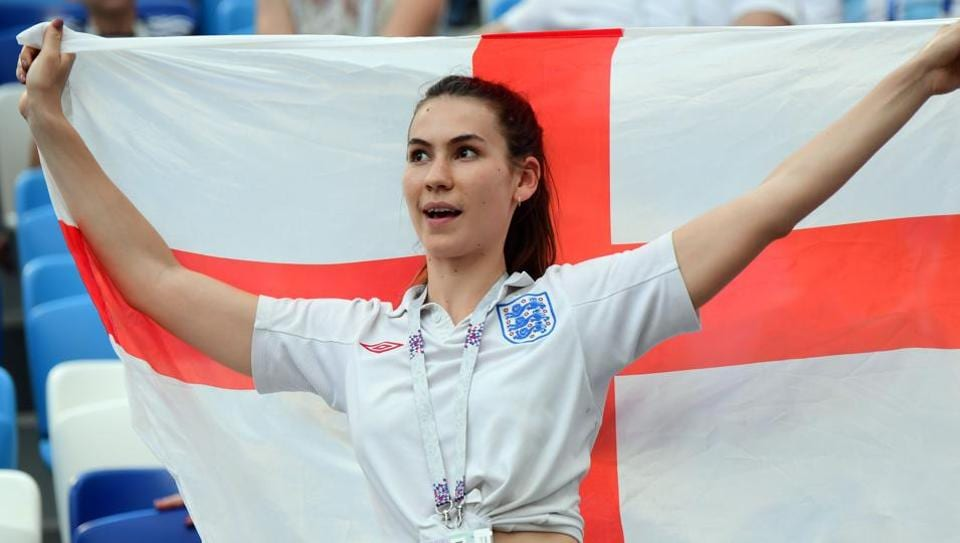 An England fan cheers during the FIFA World Cup 2018 Group G match between England and Panama at the Nizhny Novgorod Stadium on Sunday.  (AFP)