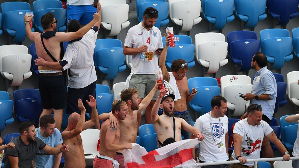 England fans celebrate their team's 6-1 win over Panama.  (AFP)
