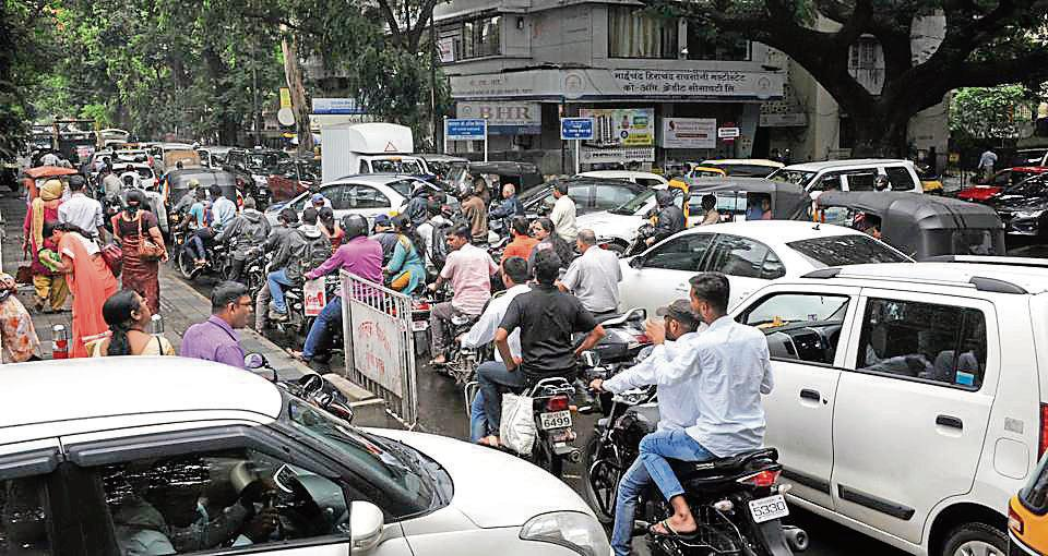 Traffic jam on Ghole road on Monday.