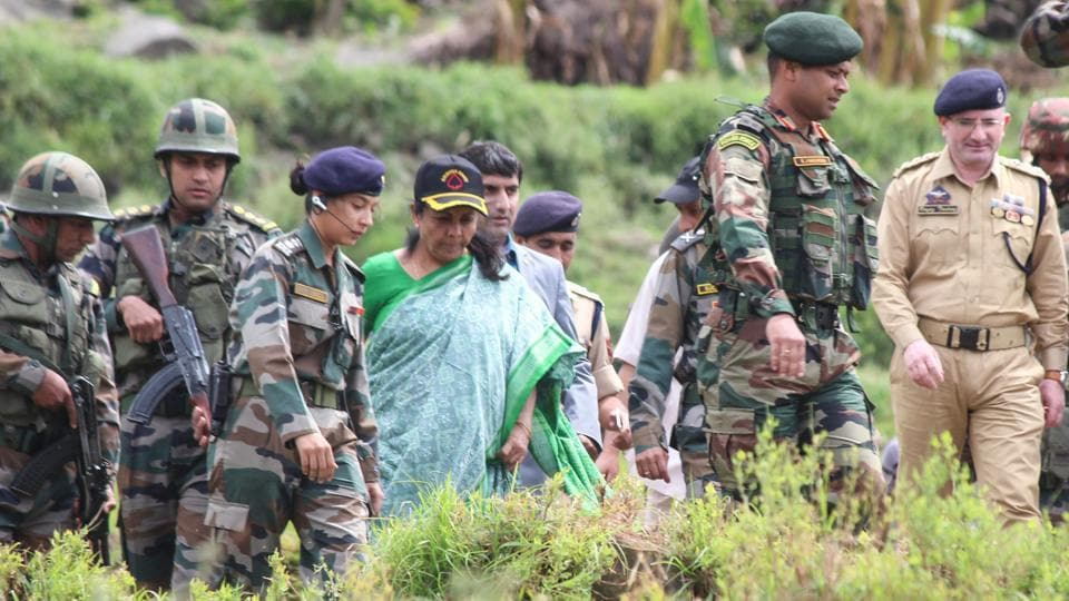 Defence minister Nirmala Sitharaman visited the Baltal base camp in Jammu and Kashmir to review security arrangements made for the annual Amarnath Yatra. She was briefed on the three-tier security arrangements made for the 36 km-long trek that begins on June 28. As many as 213 additional companies of paramilitary forces have been deployed to secure the route from Jammu to the two base camps of Baltal and Pahalgam. (PTI File)