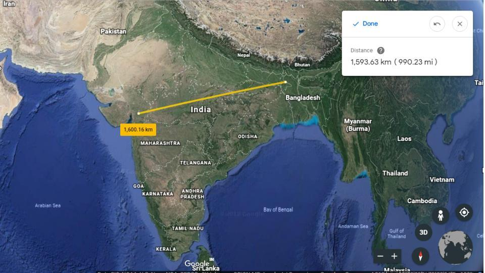 Google Earth has a new measuring tool for distances and areas.
