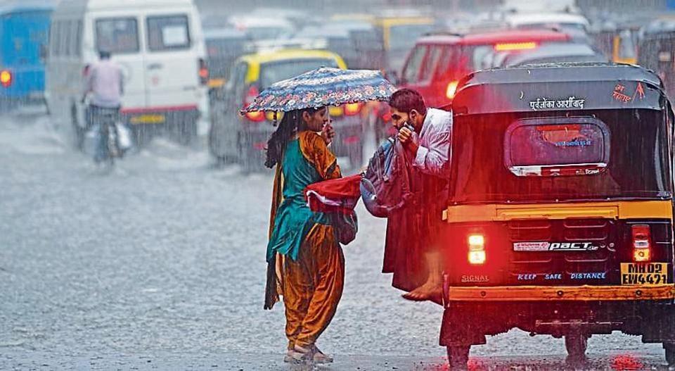 Heavy rain lashed the city on Monday.