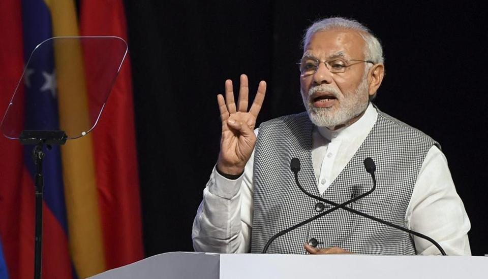 Prime Minister Narendra Modi delivers his inaugural speech for the third annual meeting at the Asian Infrastructure Investment Bank Forum, Mumbai, June 26