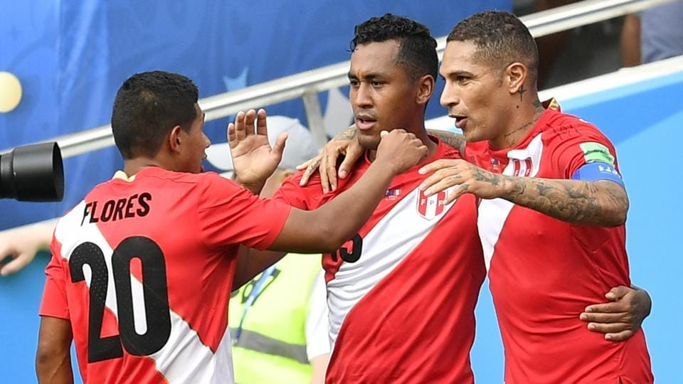 Peru's Paolo Guerrero, right, celebrates after scoring his side's second goal against Australia in a FIFA World Cup 2018 match. (AP)