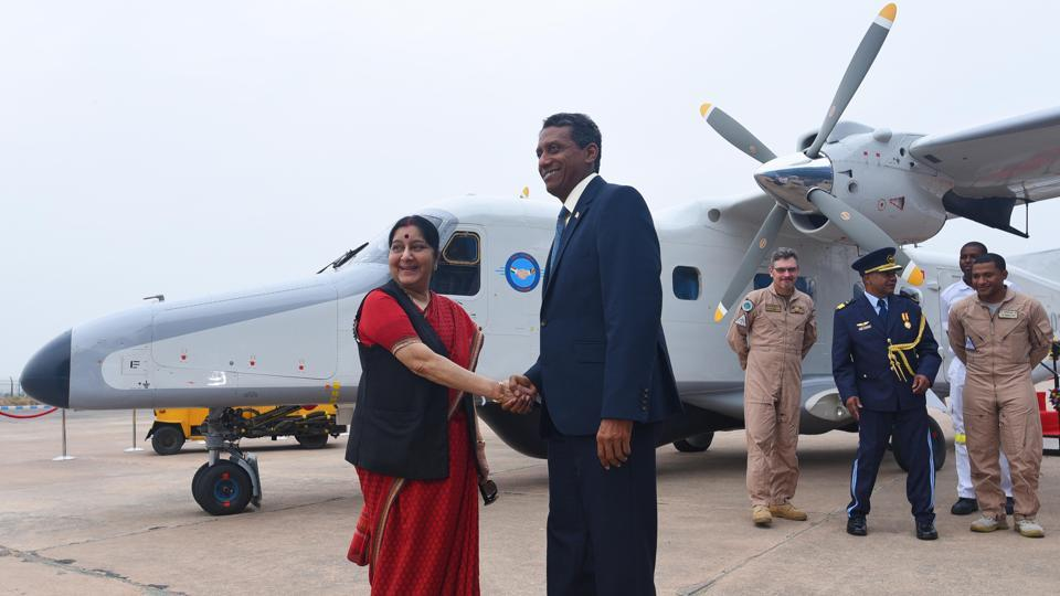 Sushma Swaraj hands over Dornier aircraft to Seychelles President Danny Faure.