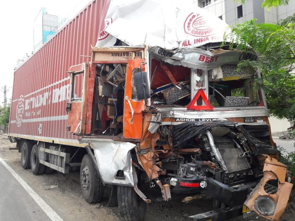 Speeding container truck crashes into signboard, car in Thane