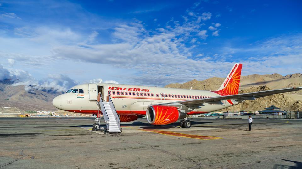 An Air India plane at Ladakh airport.