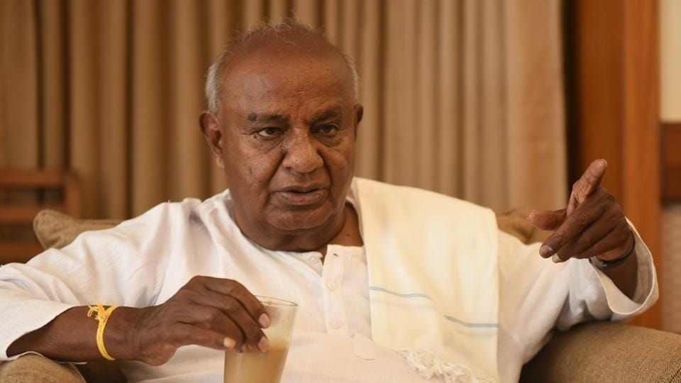 Janta Dal (Secular) leader H D Deve Gowda speaks in Bengaluru on March 31, 2018.