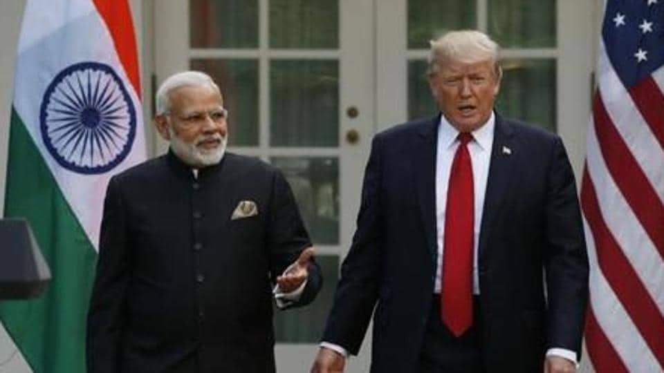 Prime Minister Narendra Modi with US president Donald Trump in the Rose Garden of the White House in Washington, in June 2017.
