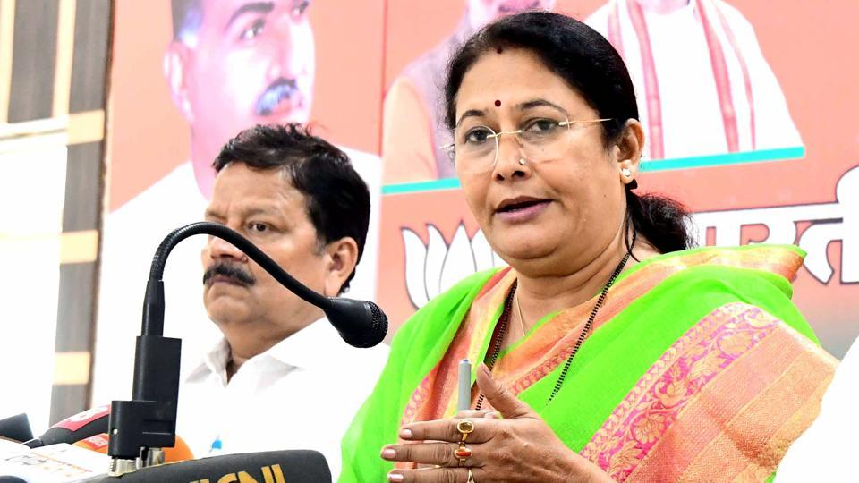 Higher education minister Kiran Maheshwari addresses a press conference at BJP office on Wednesday.