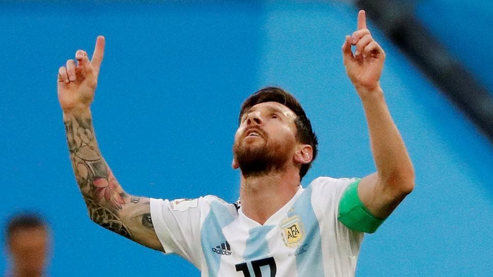 Argentina's Lionel Messi celebrates scoring their first goal against Nigeria in a FIFA World Cup 2018 match.