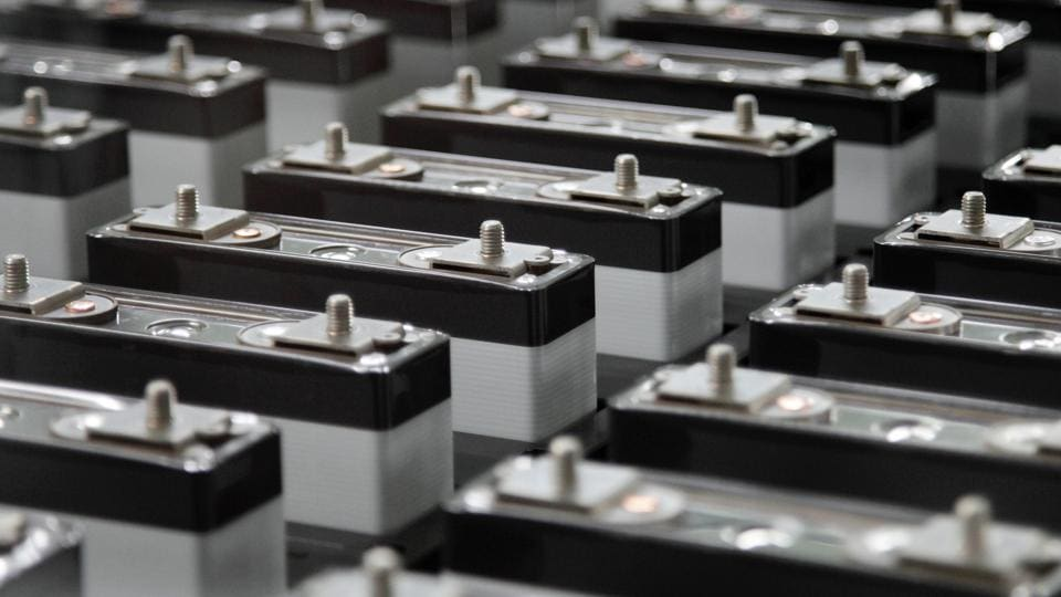 Lithium-ion battery cells are seen on the production line of the Eliiy Power Co. plant in Kawasaki City, Kanagawa Prefecture, Japan.