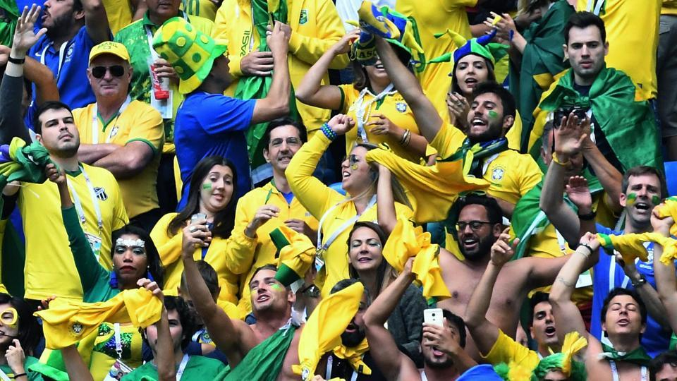 The Brazil fans were happy with their team's show. (Utpaal Sorkkar )