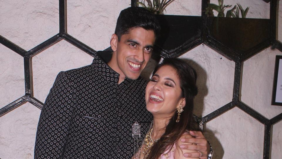Shweta Tripathi and Chaitanya Sharma react during the pre-wedding bash for their industry friends on Wednesday.