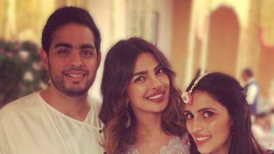 Priyanka Chopra shared a photo with Mukesh Ambani' son Akash and his fiancee Shloka Mehta. The couple will get engaged on June 30.